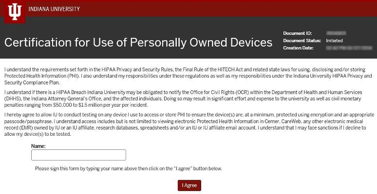 Certification for Use of Personally Owned Devices | All IU Campuses ...
