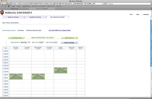 My Class Schedule All Iu Campuses One Iu