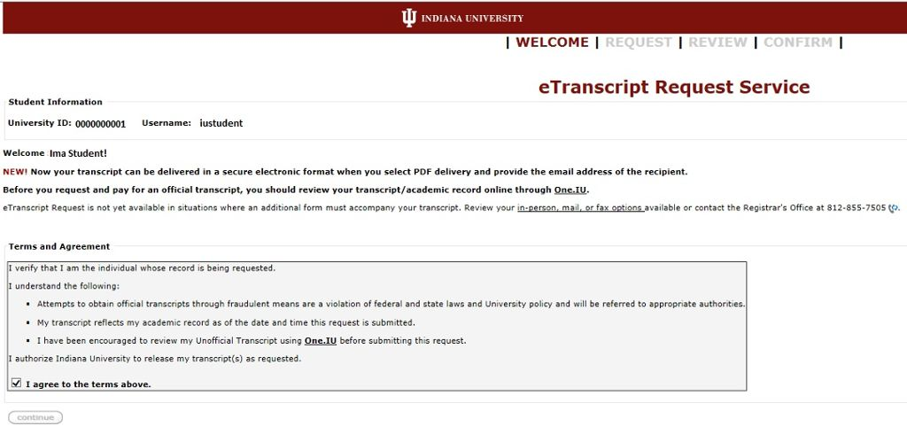 Etranscript Request Recent Students  All Iu Campuses  OneIu