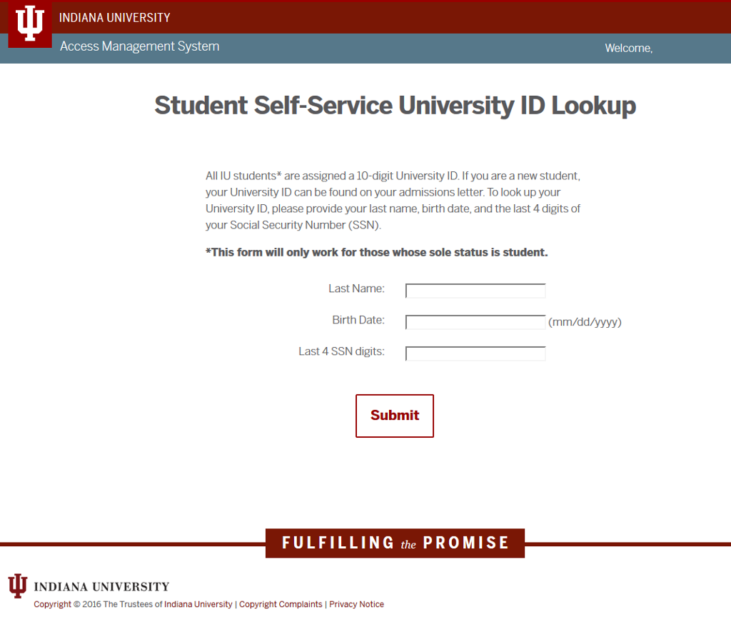 Look Up A Number >> Student University Id Lookup Access Management System All Iu