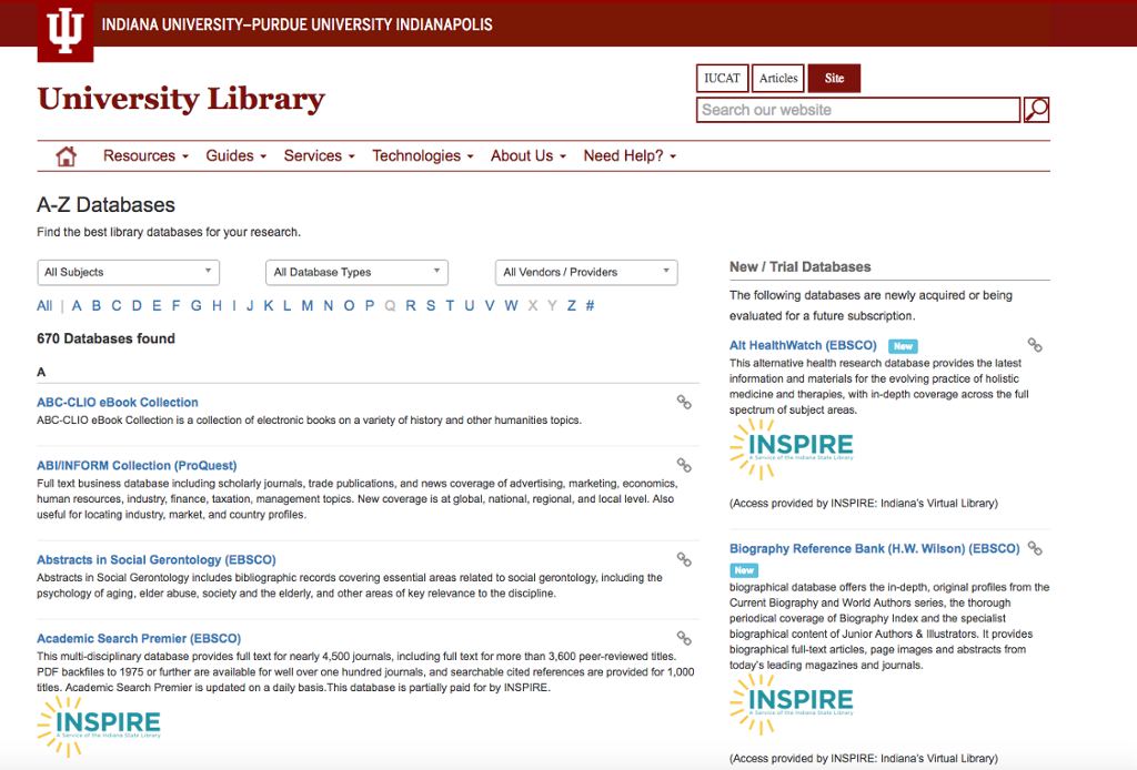 Library Resources A to Z | IUPUI Indianapolis | One IU