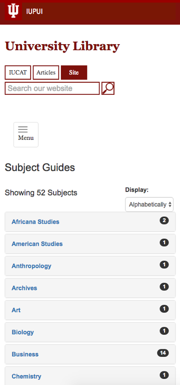 Screen shot of the Subject Guides