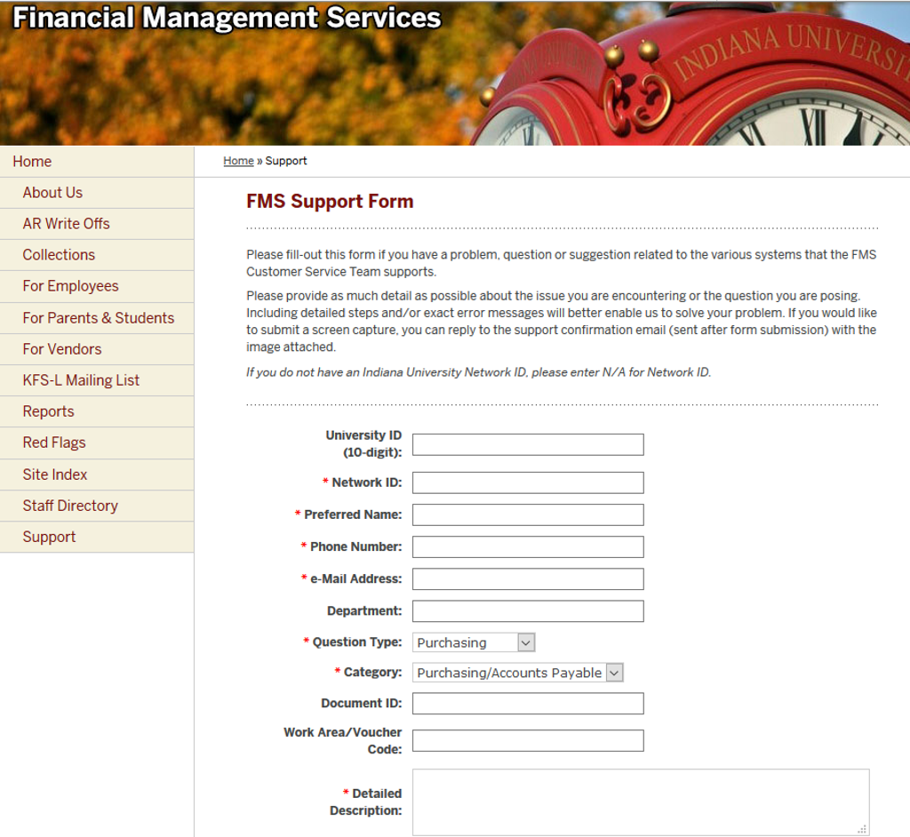 Financial Management Services - Support Form