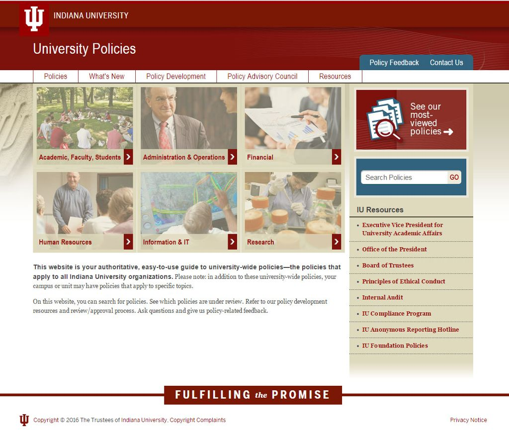 Front page of the University Policies website.