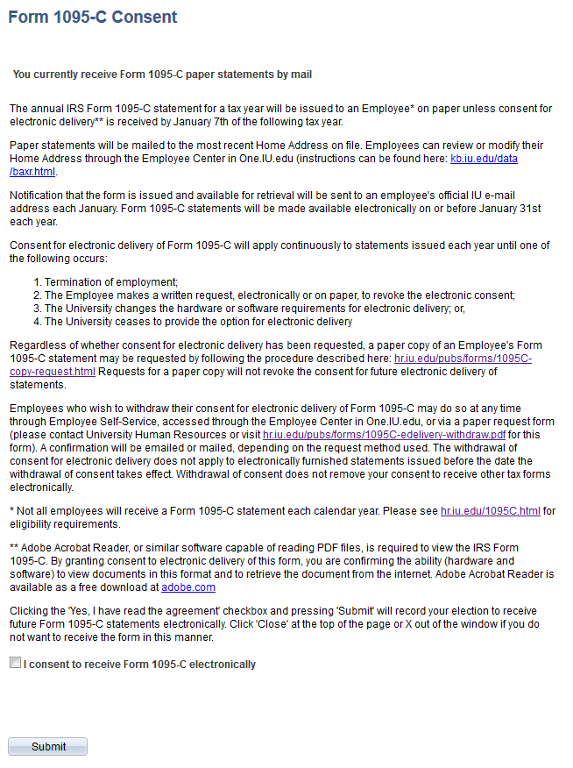 1095-C Electronic Consent   All IU Campuses   One.IU
