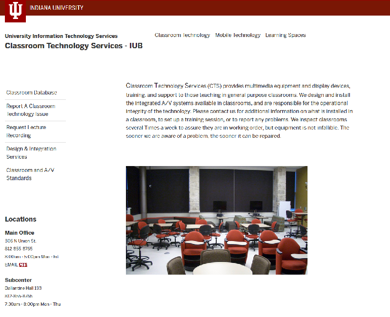 Classroom Technology Services Web Site