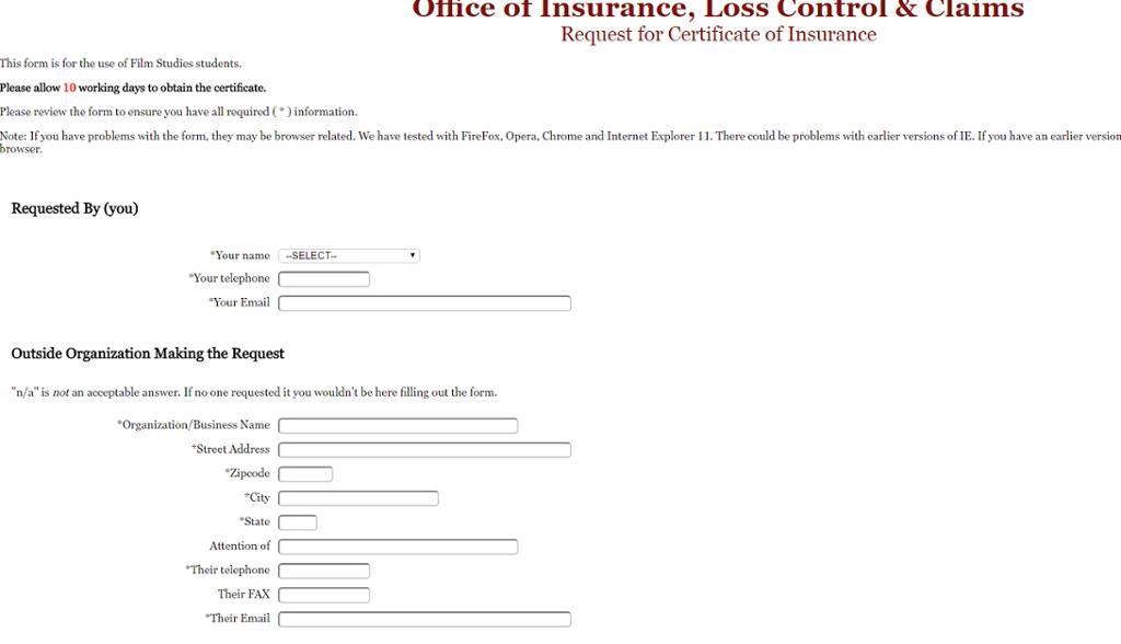 Certificate of Insurance - Film Students (COI-Film) | All IU ...