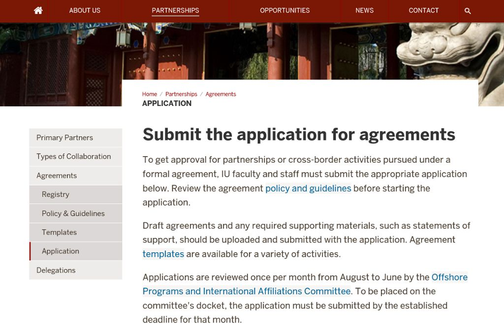 Submit Application For An International Agreement All Iu Campuses