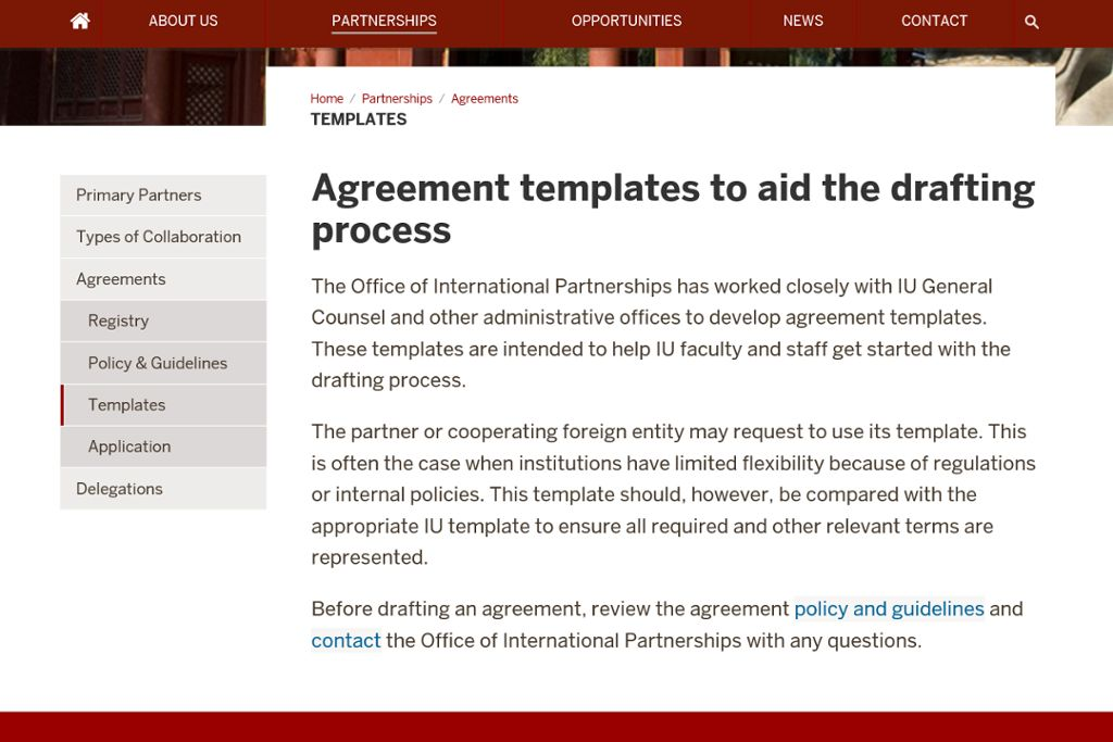 IU templates for an international agreement