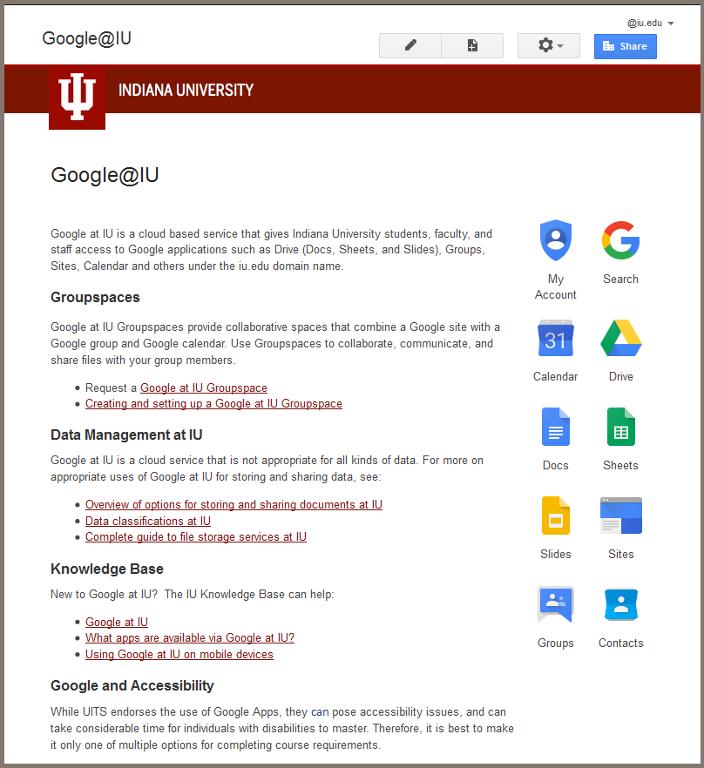 Google at IU post login screen