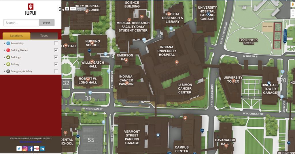 Campus Map And Directions Iupui Indianapolis One Iu