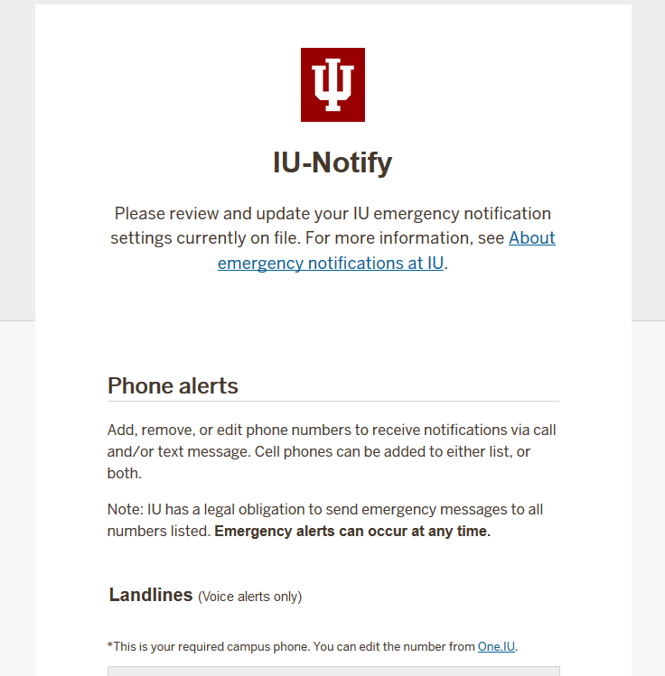 Emergency Notification Settings (IU-Notify) | All IU