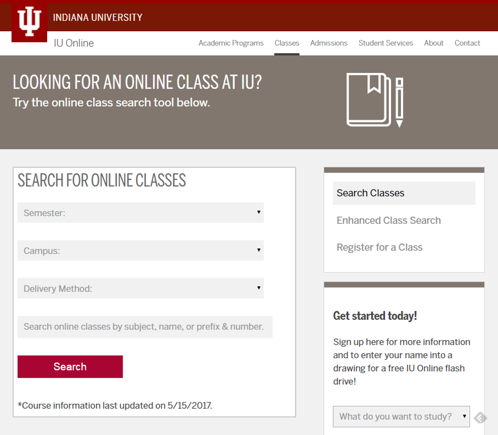 image of online class search