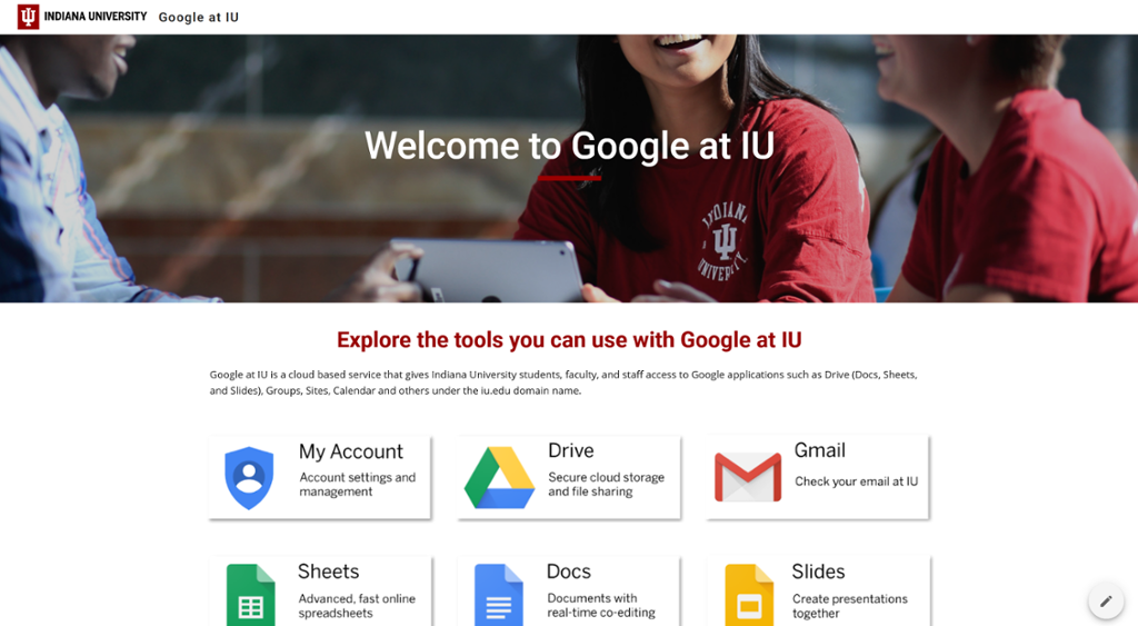 Google at IU landing page screenshot