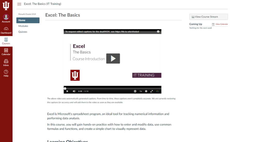 Course Content Page with Video