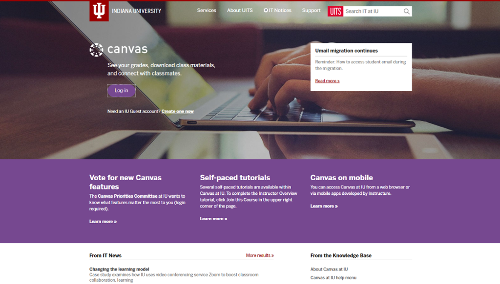 Canvas Log In Screen