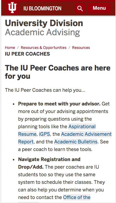 IU Peer Coaches (University Division) | IU Bloomington | One IU