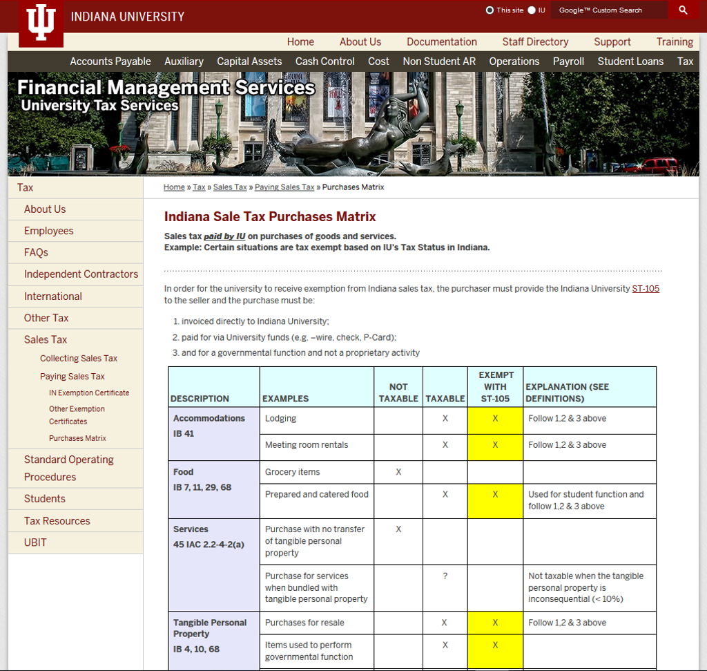 Pay Indiana Sales Tax >> Indiana Sale Tax Purchases Matrix All Iu Campuses One Iu