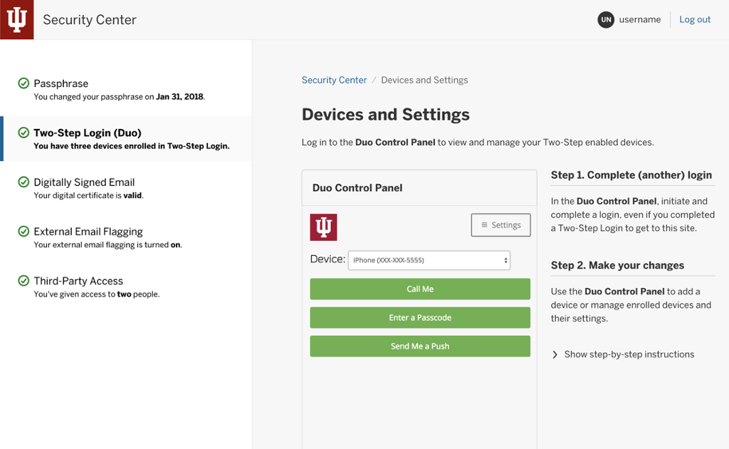 Two-Step Login (Duo) (Security Center) | All IU Campuses | One IU