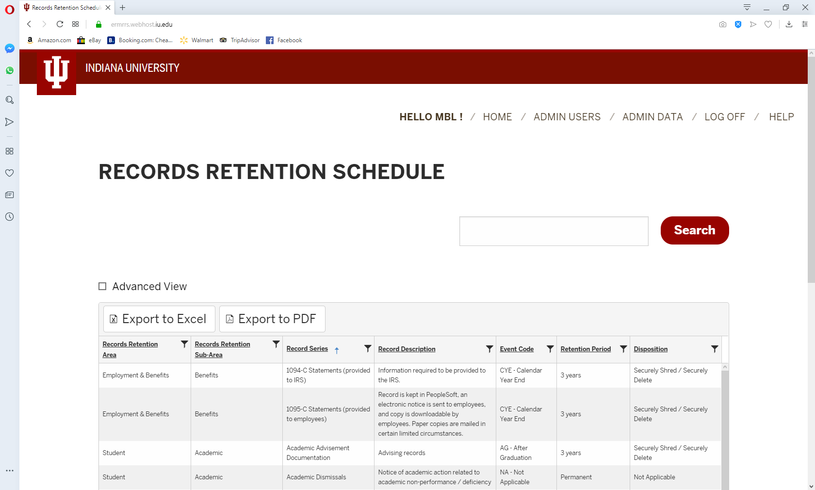 Screen print of Records Retention Schedule database