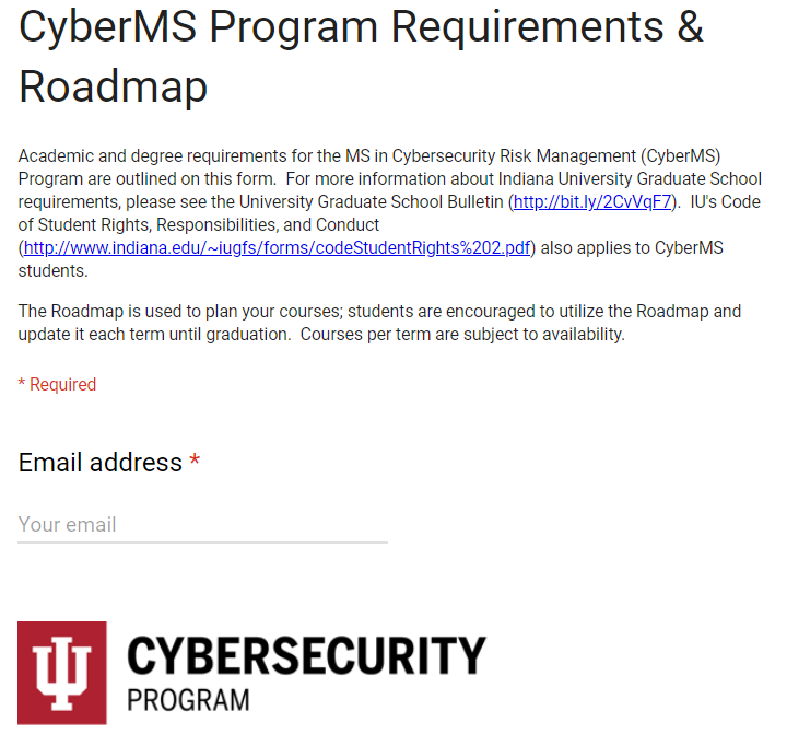 CyberMS Roadmap (Google) | IU Bloomington | One IU