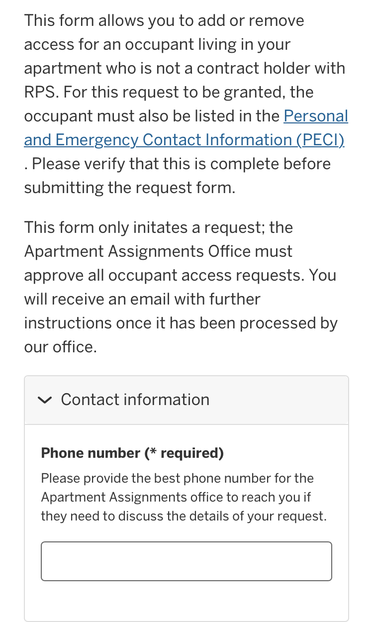Mobile version of occupant request form