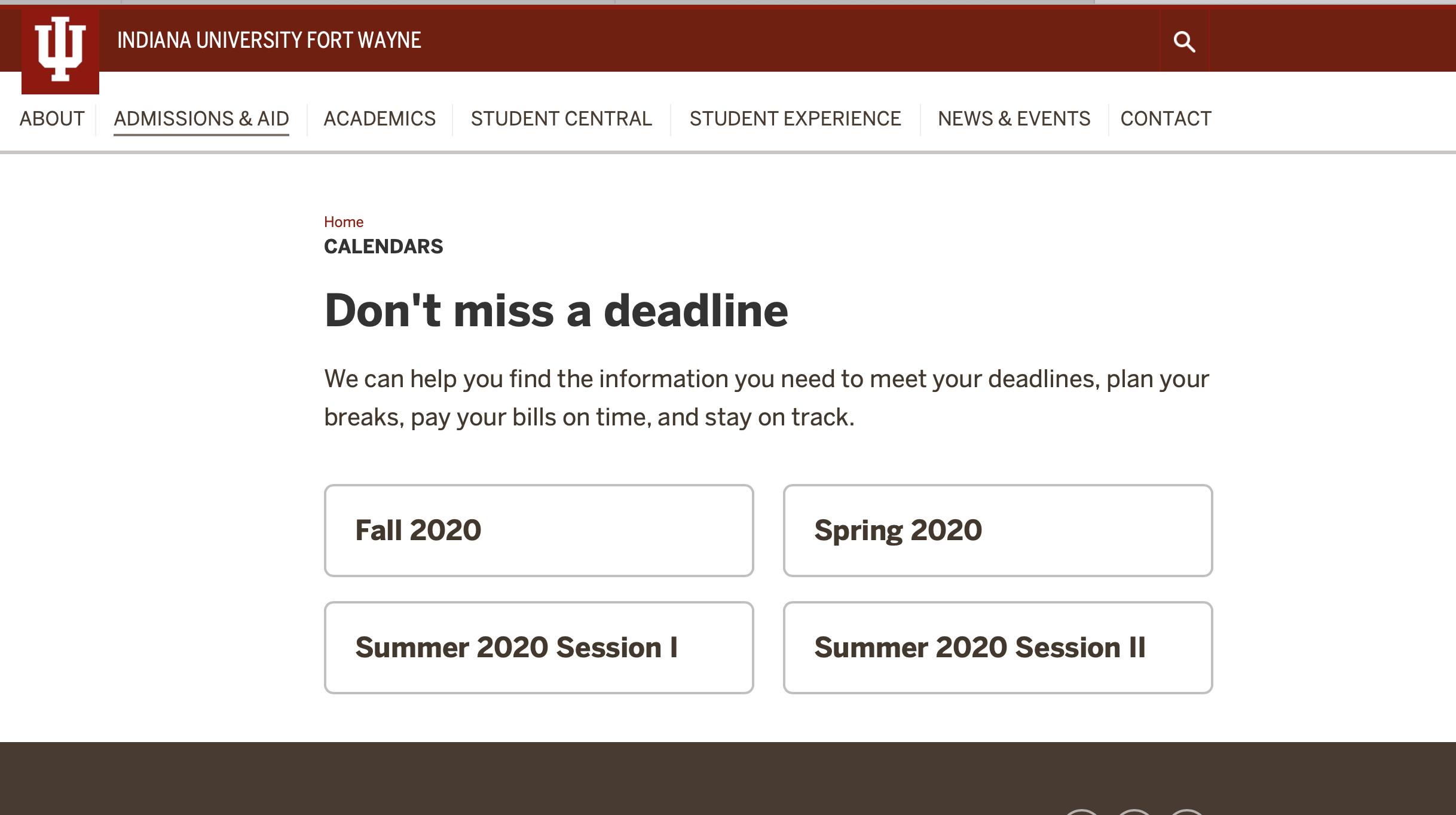 Iu Academic Calendar Spring 2022.Academic Calendar Iu Fort Wayne One Iu